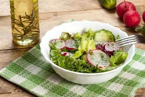 Salat mit Radieschen und grüner Gurke