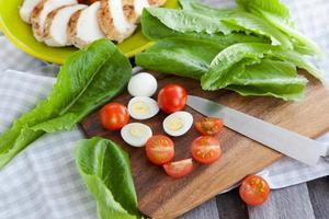 Caesar Salat Zutaten foto