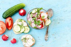Frühlingssalat mit Radieschen, Gurke, Kohl und Zwiebel Nahaufnahme foto