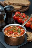 würzige Tomatensuppe mit Reis und Gemüse in einem Topf foto