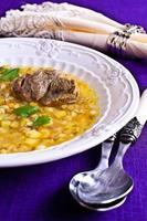 Suppe mit Perlgerste und Fleisch foto