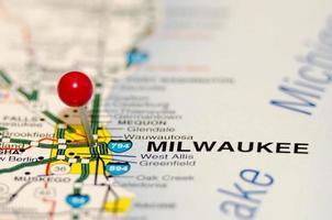 Milwaukee Pin auf der Karte foto