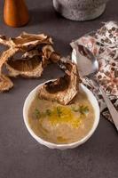 Gemüsesuppe mit getrockneten Pilzen auf einem Tisch foto