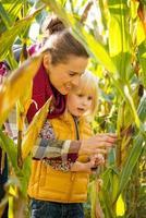 Porträt der glücklichen Mutter und des Kindes, die Maisfeld erforschen foto
