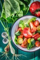 frischer vegetarischer Salat im sonnigen Garten foto