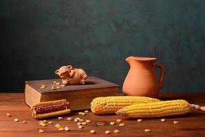 Mais und Schweine Figuren auf Büchern foto