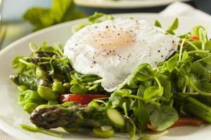 gesunde Scafata mit pochiertem Ei und Spargel