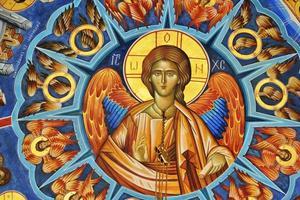 Fresko von Jesus und Heiligen