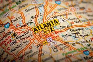 Atlanta Stadt auf einer Straßenkarte foto