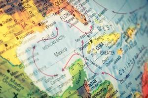 Karte von Kuba und Florida. Makrobild foto