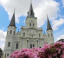 Kathedrale und Blumen foto