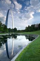 st. Louis Gateway Arch mit Teich und Gras im Vordergrund foto