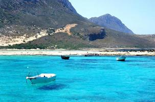 schönes türkisfarbenes Meer und Boot