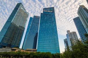 Singapur - 20. Juni 2014: Gebäude in der Skyline von Singapur