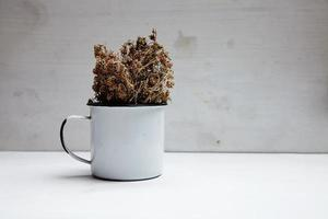 getrocknetes würziges Kraut in Weißmetallbecher foto