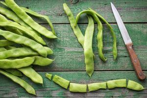 die Schoten der grünen Bohnen