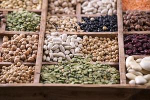 Samen von Hülsenfrüchten gemischt foto