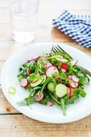 knuspriger Salat mit Gurke und Radieschen foto