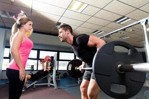 Fitnessstudio Gewichtheben Paar Training Langhantel Hantel