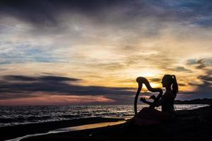 Harfenspieler auf Sonnenuntergangslandschaft foto