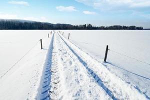 Landstraße in verschneiter Landschaft foto
