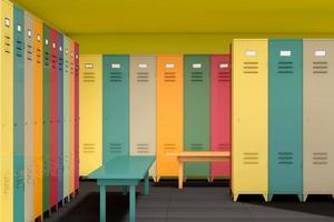 Reihe von mehrfarbigen Schließfächern mit Bank foto