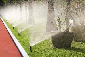 Reihe von Sprinklerköpfen, die das Gras gießen foto