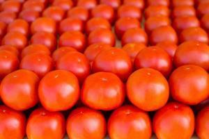 Tomatengemüse in einer Reihe auf dem Markt gestapelt foto