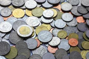 Münzgeld, thailändisches Münzgeld, Münzgeldhintergrund foto