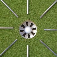 Golfstahlwellen, die auf das Golfloch zeigen foto
