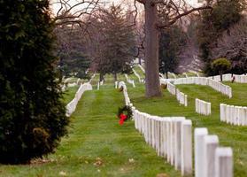 Weihnachtskränze auf dem Friedhof von Arlington foto