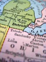antike Karte Detroit foto