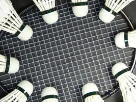 Federbälle auf einem Badmintonschläger