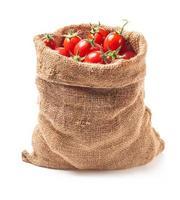 Tomaten in Segeltuchtasche foto