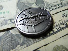Willkommen bei der fabelhaften Las Vegas Glücksspielmünze. foto