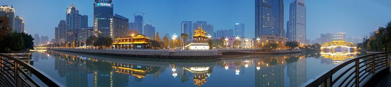 Chengdu, China Hejiangting, Kioske Brücken Nacht foto