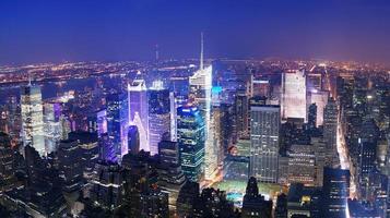 Luftaufnahme der Skyline von New York City Manhattan Times Square foto