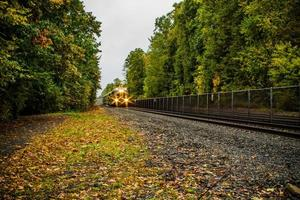 fahrender Zug im Herbst