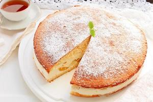 Frischkäse Pfirsichkuchen foto