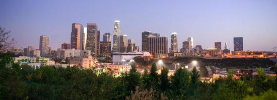 Sonnenuntergang Los Angeles Kalifornien Innenstadt Skyline