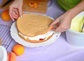Schichten füllen und stapeln. Pfirsich-Schichtkuchen machen foto