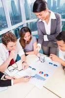 asiatisches Business-Team diskutiert Diagramme foto