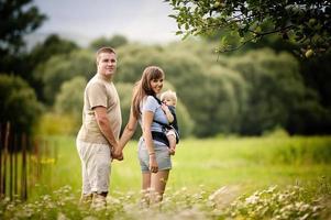 Familie auf dem Bauernhof foto