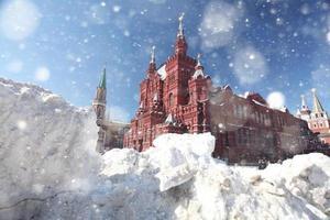 Schneeverwehungen auf dem roten Platz in Moskau, Schnee, Sturm