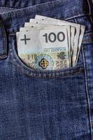 mehrere polnische Banknoten Jeanstasche foto