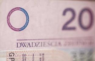 Rechnung von 20 polnischen Zloty foto