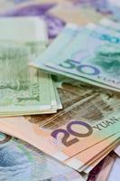 chinesische Yuan Banknoten (Renminbi) für Geld und Geschäftskonzept