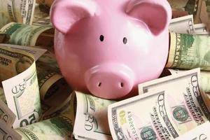 Sparschwein auf Dollar foto
