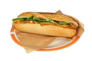 Deluxe Sandwich Hühnchen Satay Salat. foto