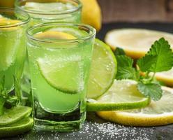 grüner Cocktail mit Wermut, Minze und Zitrusfrüchten